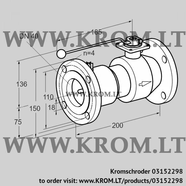 Kromschroder Manual valve AKT 40F50TAS, 03152298