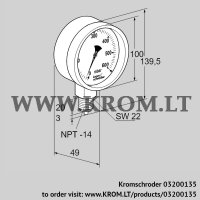 Pressure gauge RFM P60TNB100 (03200135)