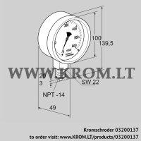 Pressure gauge RFM P230TNB100 (03200137)