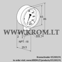 Pressure gauge RFM P60TNB63 (03200191)