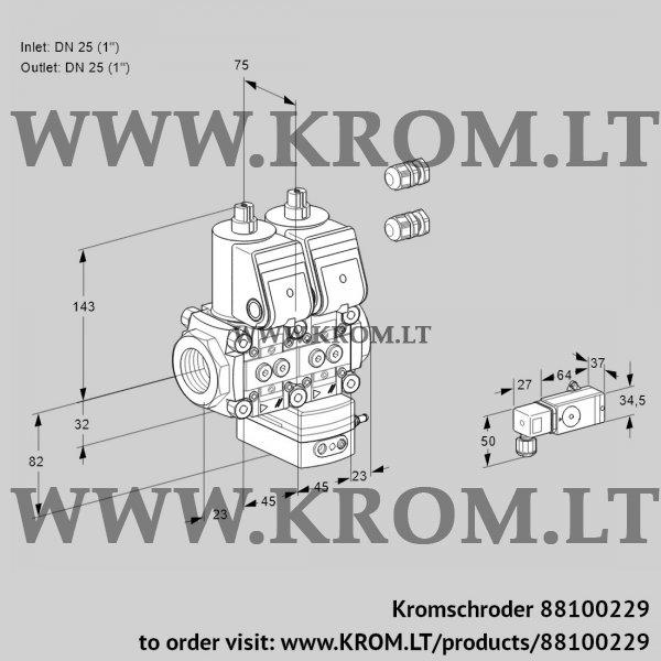Kromschroder Air/gas ratio control VCV1E25R/25R05NVKWR3/2-PP/PPPP, 88100229